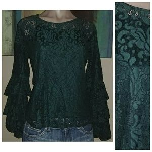 SOLITAIRE JADE GREEN LACE RUFFLE SLEEVE LAYERED